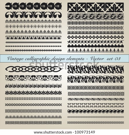 Set of vintage calligraphic design elements in editable vector file - stock vector