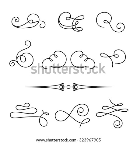 Set of vintage calligraphic swirls and dividers, decorative design elements, simple swirls and flourishes on white, vector scroll embellishment in retro style - stock vector