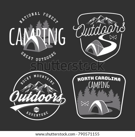 Set Of Vintage Camping And Outdoor Adventure Emblems Logos Badges Camp Tent In