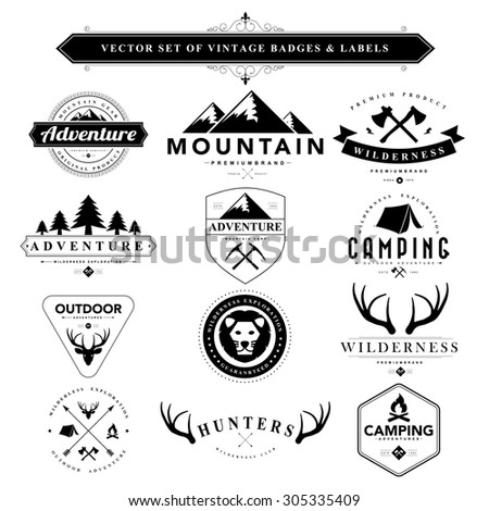 Set of vintage  camping badges and labels - stock vector