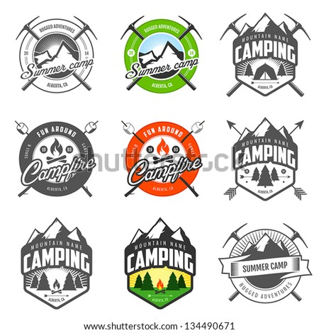 Set of vintage camping labels and badges - stock vector