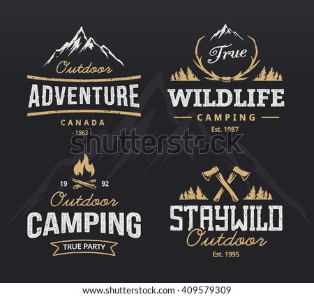 Set of vintage camping, outdoor adventure emblems. Vector retro labels. Logo design templates.  - stock vector