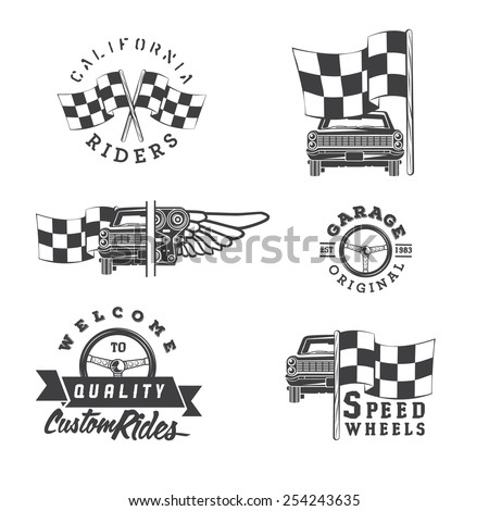Set of vintage car labels and design elements  - stock vector