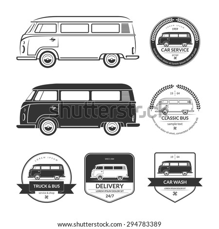 Set of vintage car service labels, emblems, logos, badges. Silhouettes of bus, minibus, van, minivan, wagon in retro style. Black vector design elements isolated on white background - stock vector