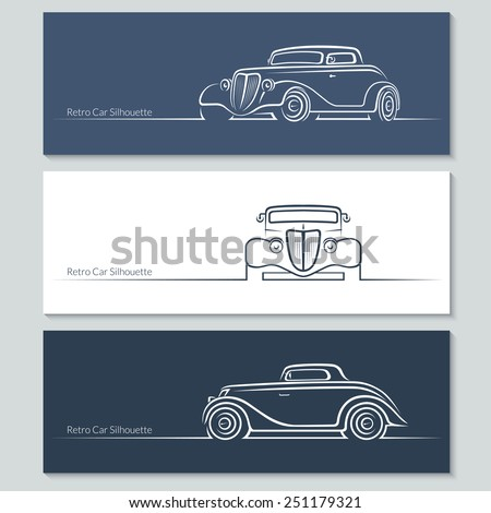Set of vintage car silhouettes. Retro car in three angles. Vector illustration - stock vector
