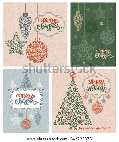 Set of vintage card with Christmas decorations and calligraphic inscription Merry Christmas and Happy Holidays. Vector illustration  - stock vector