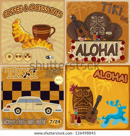 Set of vintage cards - invitations - with masks, food and taxis - stock vector