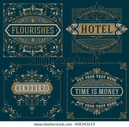 Set of Vintage cards. vector template. - stock vector