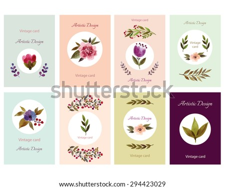 Set of Vintage Cards with Hand Drawn elements in Watercolor technique. Artistic design for Postcards, Flyers and Banner Designs. Invitation template for event. Vector  - stock vector