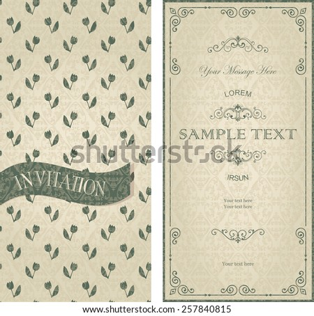 set of vintage cards with seamless floral pattern - stock vector
