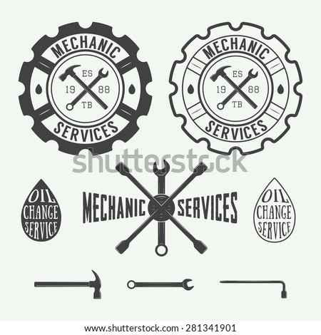 Set of vintage carpentry and mechanic labels, emblems and logo - stock vector