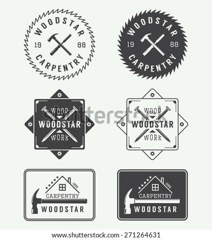 Set of vintage carpentry labels, emblems, badges and logo - stock vector