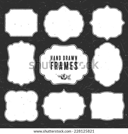 Set of vintage chalk frames and labels. Hand drawn vector illustration. Vol.3 - stock vector