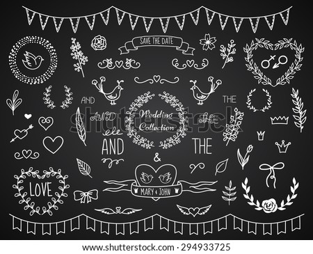 Set of vintage chalk hand drawn decoration elements for wedding invitations. Doodle style. Vector eps10. - stock vector