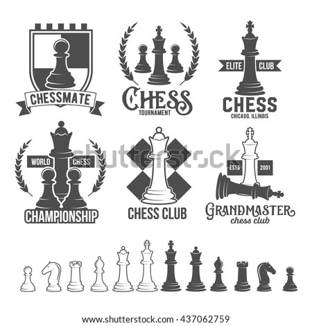 Set of vintage chess labels, logotypes badges and design elements.    - stock vector