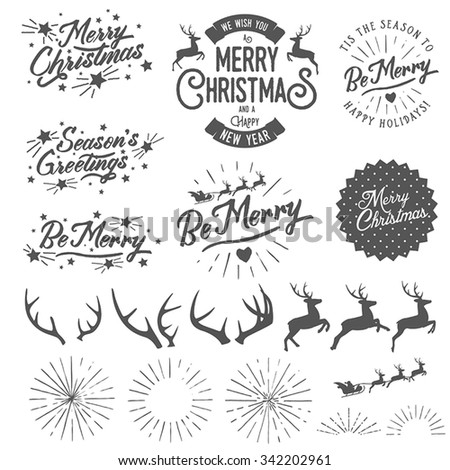 Set of vintage Christmas and New Year photo overlays and design elements - stock vector