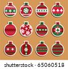 Set of 12 Vintage Christmas balls  which may be used as tags for gift or stickers - stock photo