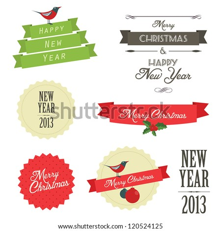 Set of vintage christmas labels and badges - stock vector