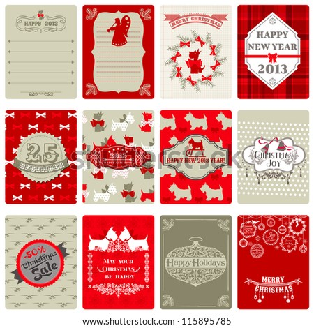 Set of Vintage Christmas Tags - for design or scrapbook - in vector - stock vector