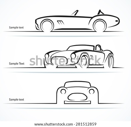 Set of vintage classic sports car silhouettes, outlines, contours. Vector illustration - stock vector