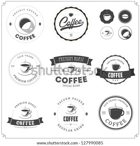Set of vintage coffee themed monochrome labels - stock vector