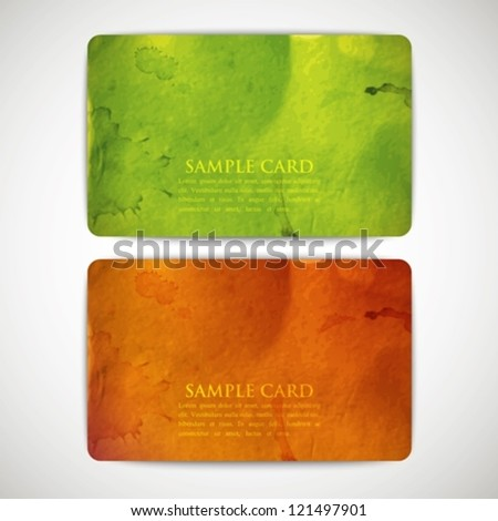set of vintage colorful cards with grunge cardboard texture - stock vector