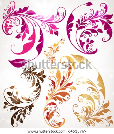 Set of vintage colorful vector elements for retro design. - stock vector