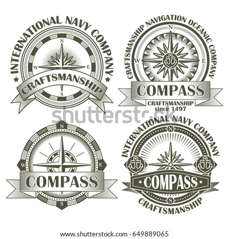 Set of vintage compasses with a wind rose