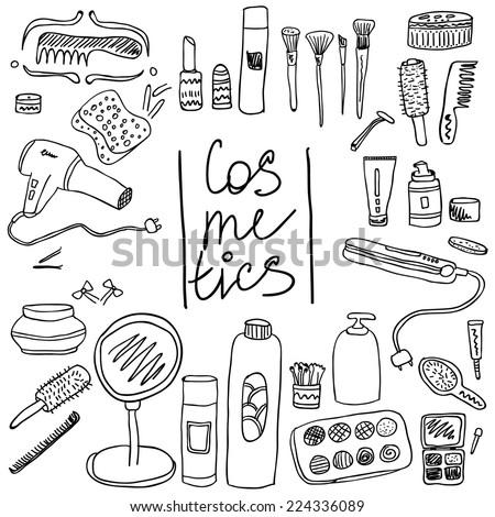 Set of vintage cosmetics elements and beauty products icons. Make up tools in black and white. - stock vector