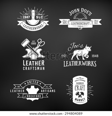 Set of vintage craft logo designs, retro genuine leather tool labels. artisans market insignia vector illustration on dark background. - stock vector