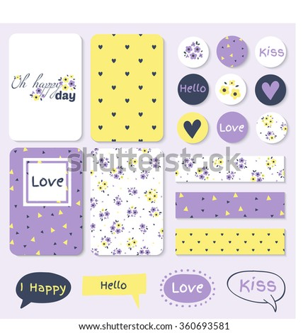 Set of Vintage Creative Cards, tape, stickers, labels with Hand Drawn Polka Dots Textures. Templates for Placards, Posters, Flyers and Banner Designs, Printable Journals Card - stock vector