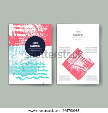 Set of Vintage Creative Cards with Hand Drawn  Textures Made with Ink. Retro Patterns for Placards, Posters, Flyers and Banner Designs. - stock vector