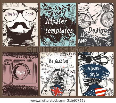 Set of vintage creative cards with hand sketched hipster textures from hipster must have things for design - stock vector