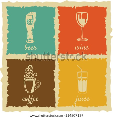 set of Vintage cups Labels - stock vector