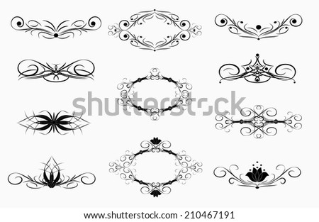 set of vintage decoration black vignette on white background - stock vector