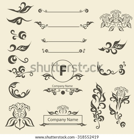 Set of Vintage Decorations Elements arabesque. Flourishes Calligraphic Ornaments and Frames. Retro Style Design Collection for Invitations, Banners, Posters, Placards, Badges and Logotypes. - stock vector