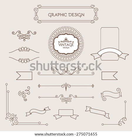 Set of vintage decorations elements. Flourishes calligraphic ornaments and frames. Logo & polygraphy design. Vector illustration