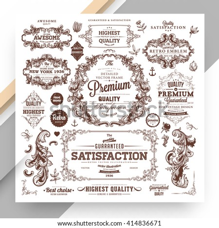 Set of Vintage Decorations Elements. Flourishes Calligraphic Ornaments and Frames. Retro Style Design Collection for Invitations, Banners, Posters, Placards, Badges and Logotypes. - stock vector