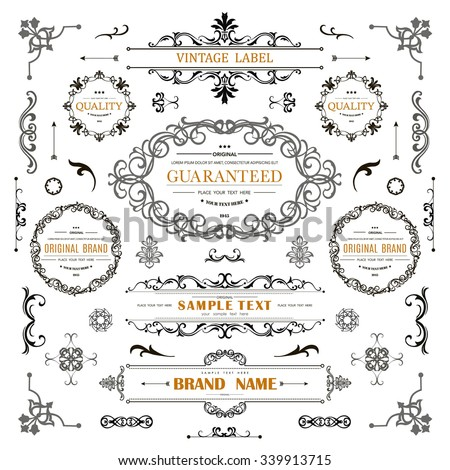 Set of Vintage Decorations Elements.Flourishes Calligraphic Ornaments and Frames with place for your text. Retro Style Design Collection for Invitations, Banners, Posters, Badges,Logotypes and so on