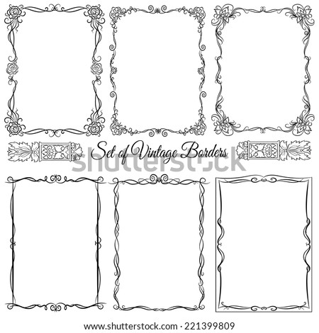 Set of vintage decorative borders. - stock vector