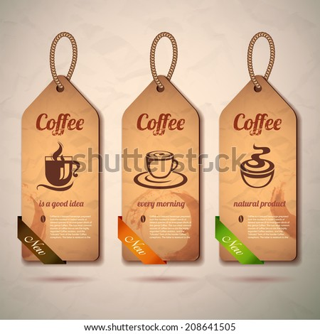 Set of vintage decorative coffee labels - stock vector