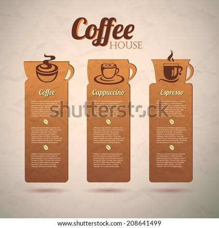 Set of vintage decorative coffee labels. Web site design - stock vector