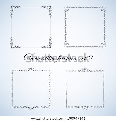 Set of vintage decorative frames and borders