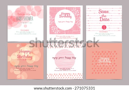 set of vintage design element ,background,pattern ,monogram for use as invitation card, birthday, valentine's day, party invitation, wedding  - stock vector