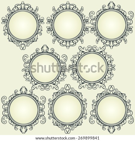 set of vintage design elements, round decorative frames - stock vector