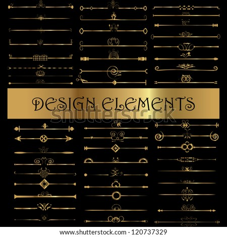 Set of vintage design elements - Vector illustration isolated on black. Calligraphic design elements and page decoration - stock vector