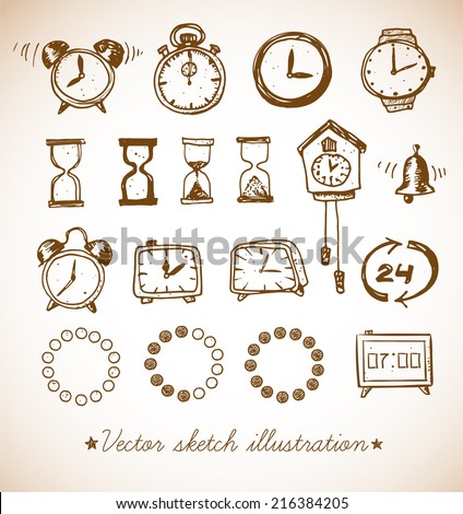 Set of vintage doodle sketch watches. Alarm clocks, sand glasses, stop-watch and other symbols of time. Hand-drawn with ink. Vector illustration. - stock vector