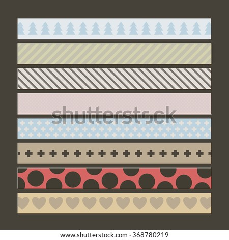 SET OF VINTAGE DUCT TAPE WITH VARIANT PATTERNS ON THE BLACK BACKGROUND. STOCK VECTOR.  - stock vector