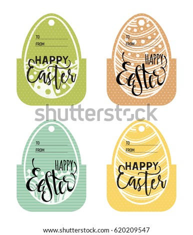 Set vintage easter gift tags happy stock vector 620209547 set of vintage easter gift tags happy easter lettering caption zentangle holiday design for negle Choice Image