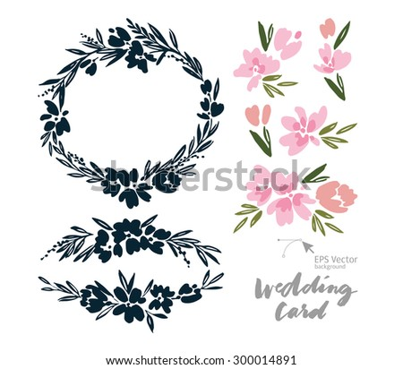 Set of vintage elements for cards. Handmade. Ink and brush. Wedding. Congratulations. - stock vector